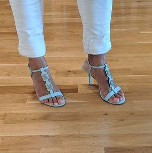 CHARLES DAVID turquoise strappy heels sz 8/38